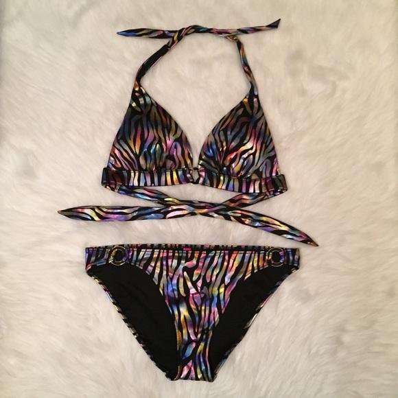 57bf7abe7f0 Victoria's Secret Swim | New Vs Metallic Rainbow Zebra Print Suit ...